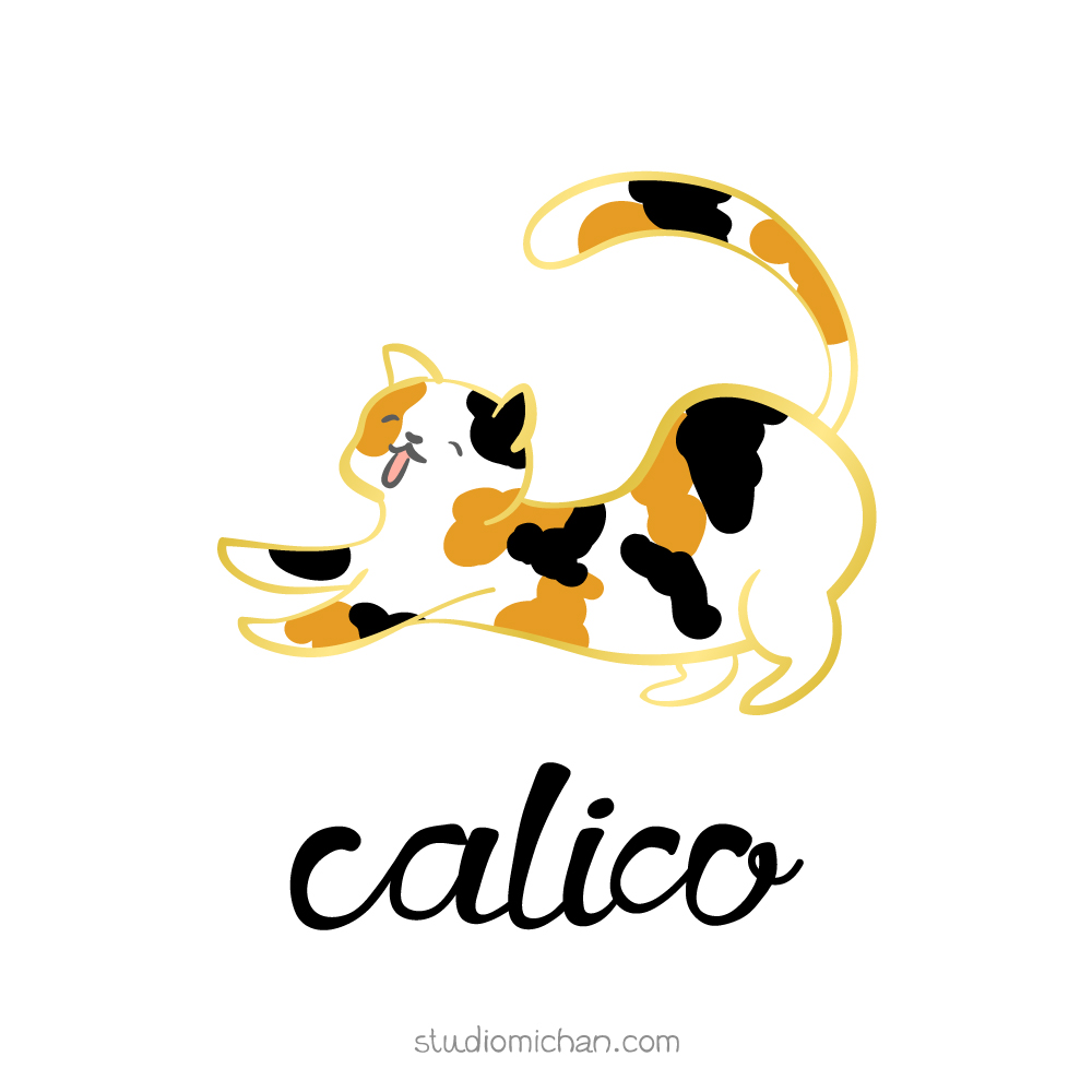 studio michan: gold border calico cat